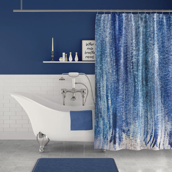 Dark Blue Abstract Watercolor Stripes Shower Curtain