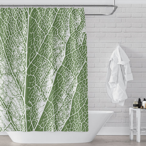 Dark Sage / Olive Green & White Leaf Detail Shower Curtain - Metro Shower Curtains