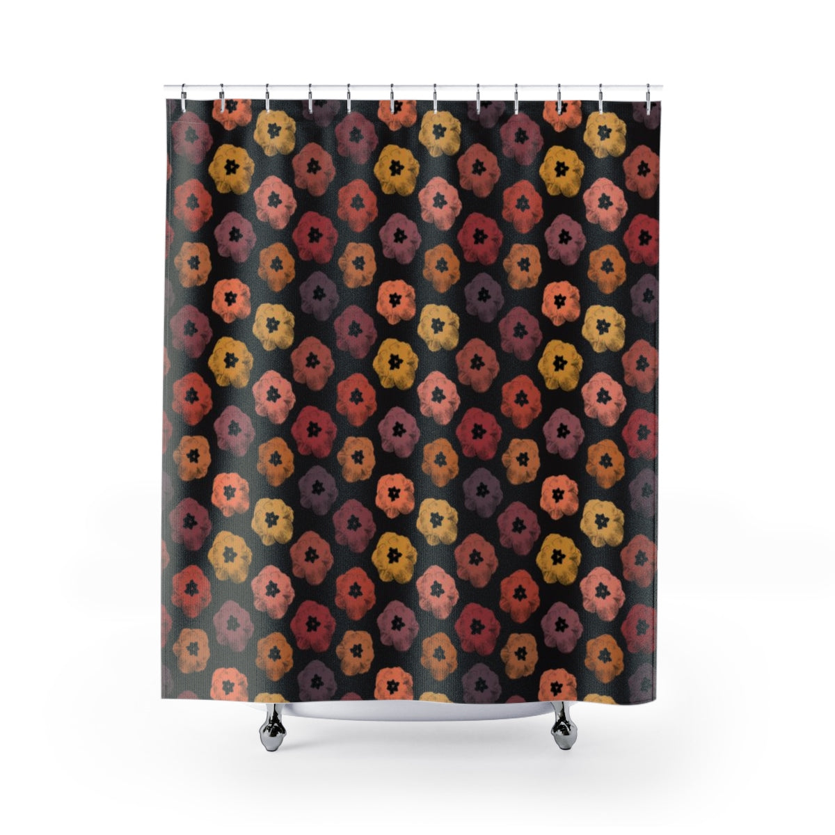 Floral Earth Tones: Poster-Style Tulips in Warm Shades of Orange and Red on Black Shower Curtain - Metro Shower Curtains