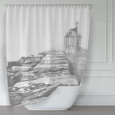 Foggy Coastal Gloucester Breakwater Gray and White Shower Curtain - Metro Shower Curtains