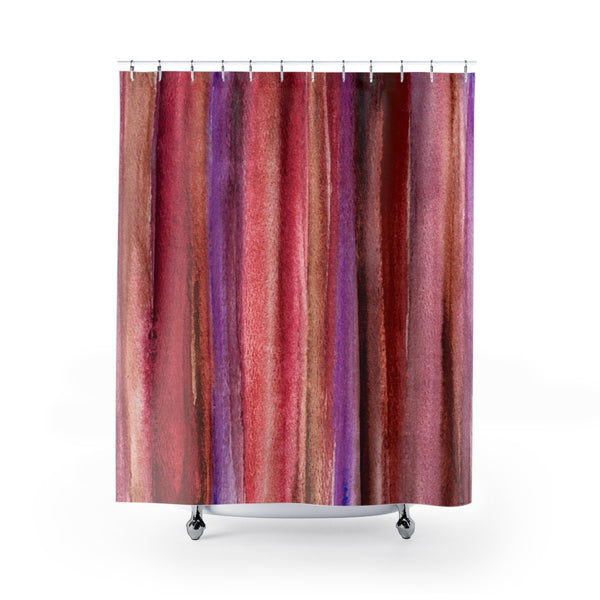 Deep red / maroon / crimson watercolor stripes shower curtain