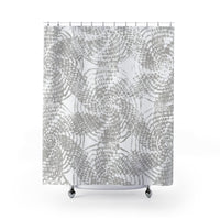 Gray and White Etched Line Shabby Chic Shower Curtain