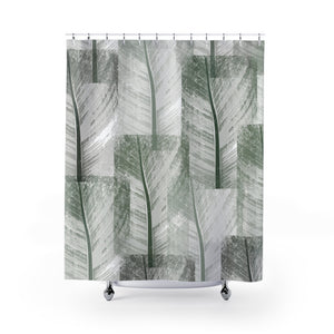 Tropical Green Patchwork Banana Leaves Abstract Modern Shower Curtain - Metro Shower Curtains