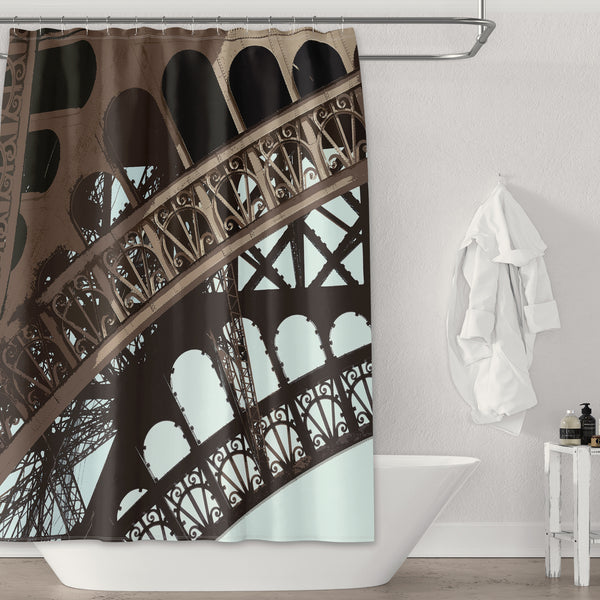 Eiffel Tower Arch Graphic Print Detail Brown and Blue Shower Curtain - Metro Shower Curtains