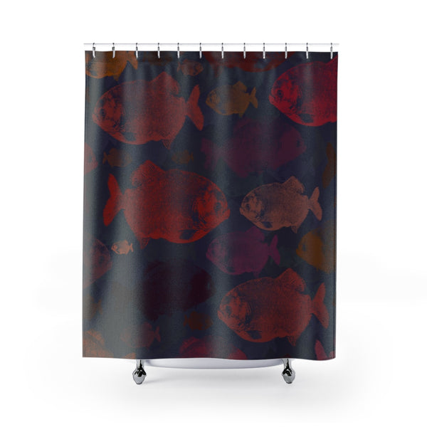 Piranha Print Shower Curtain Red and Blue Pop Art Style