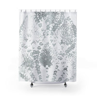 Gray and White Lace Batik Shower Curtain