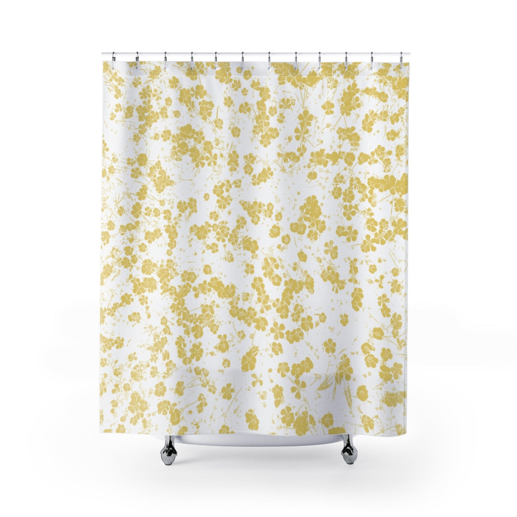 Field of Buttercups Yellow and White Art Print Shower Curtain - Metro Shower Curtains