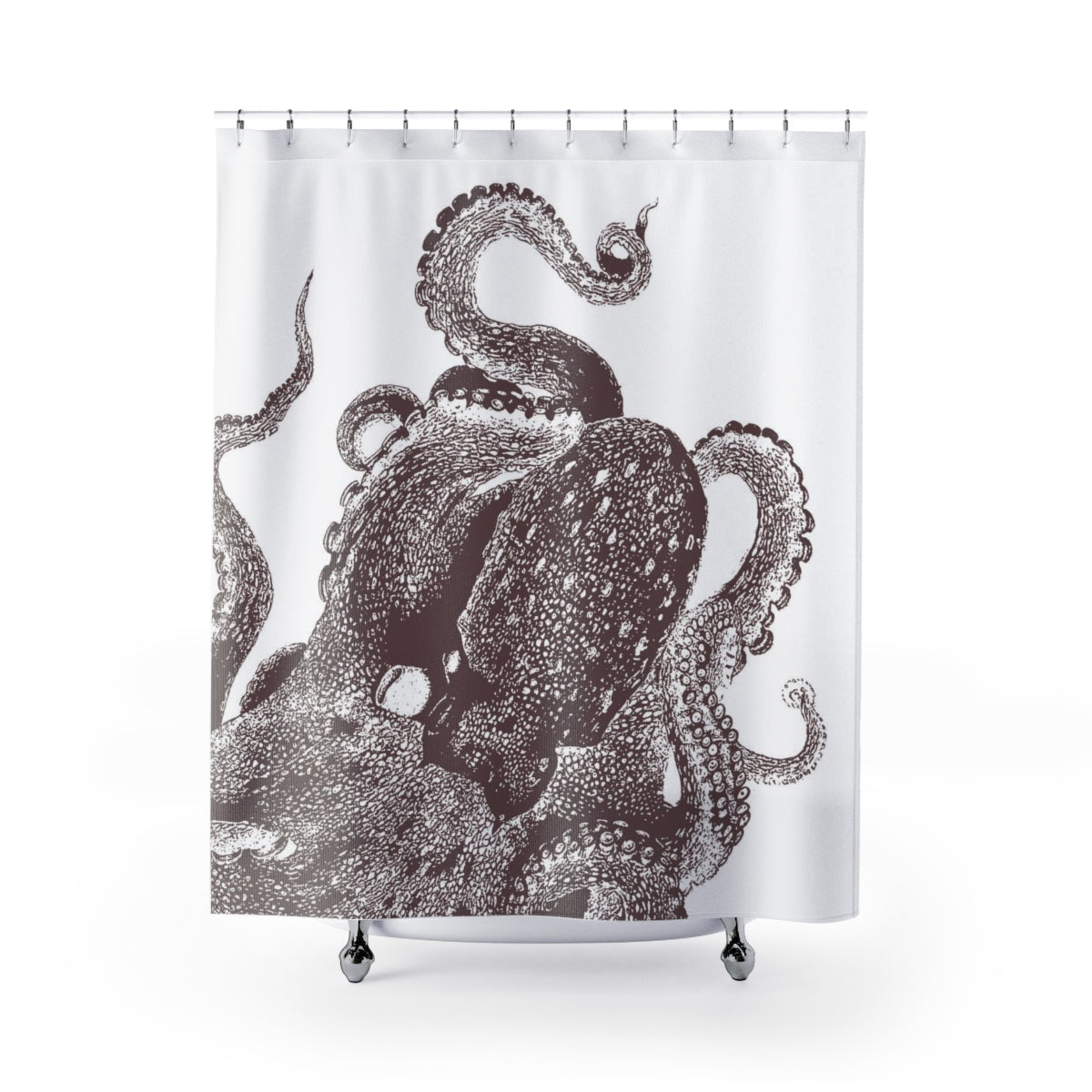 Brown and White Octopus Shower Curtain - Metro Shower Curtains