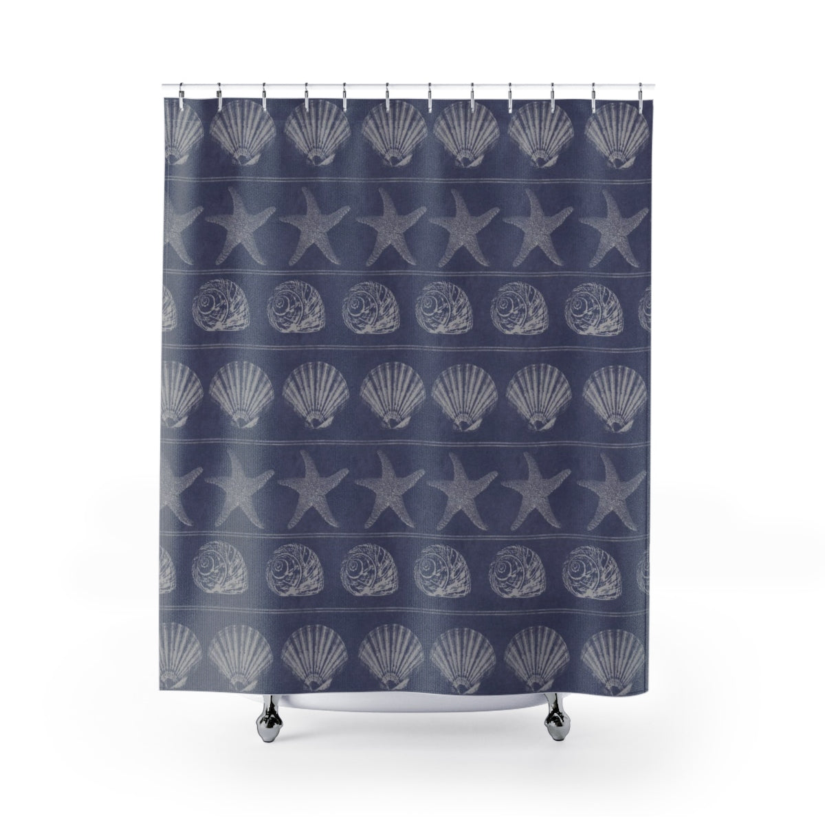 Periwinkle and Beige Shells Shower Curtain for Beach Bathroom - Metro Shower Curtains