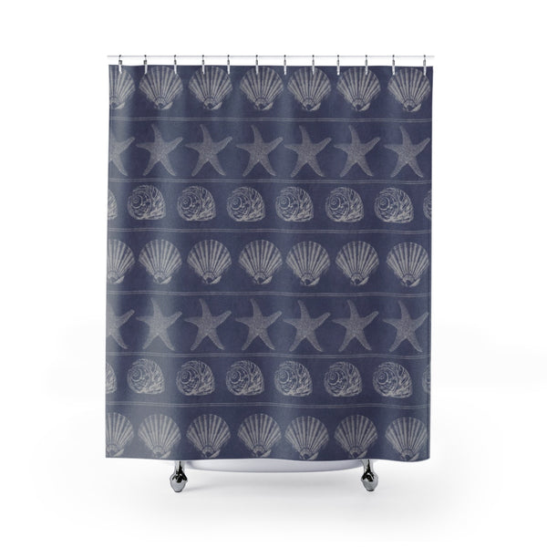 Periwinkle Blue Shell Beach House Shower Curtain