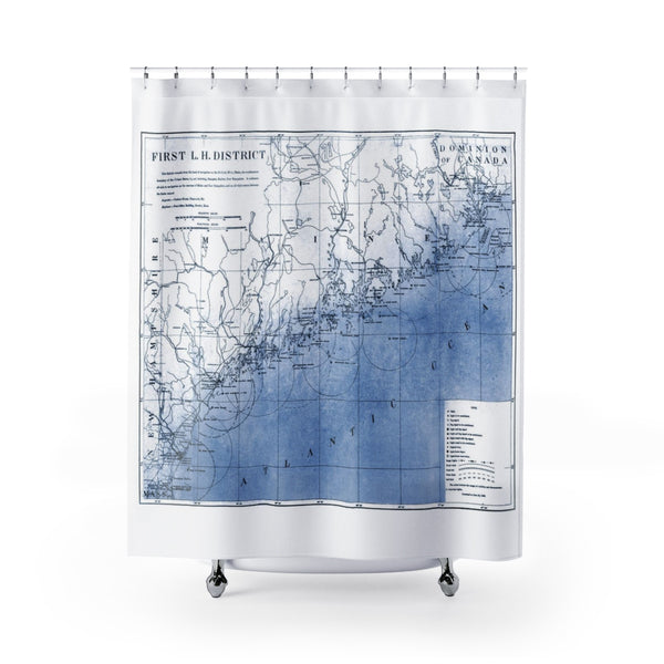 blue coastal Maine lighthouse map shower curtain