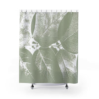 Sage green and white leaves shower curtain
