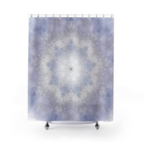 Light Cornflower Blue Kaleidoscopic Leaves Mandala Shower Curtain - Metro Shower Curtains
