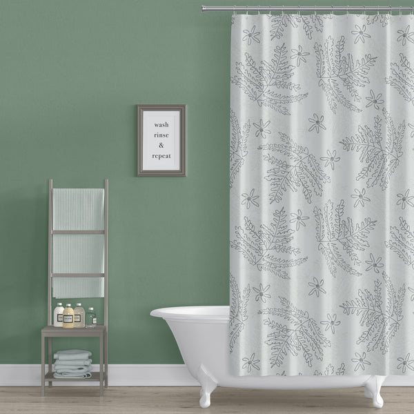 Ferns and Flowers Doodle Print Shower Curtain
