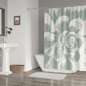 Large Green and White Succulent Shower Curtain - Metro Shower Curtains