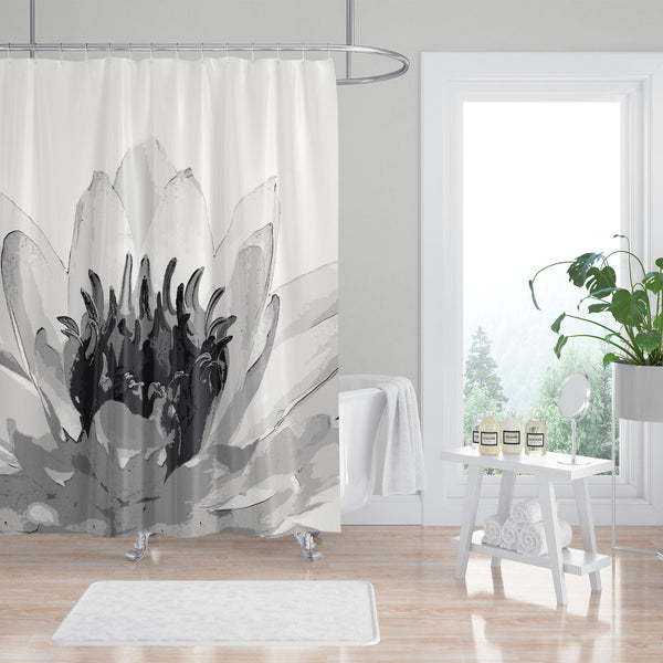 Water Lily Spa Bathroom Shower Curtain Black and White