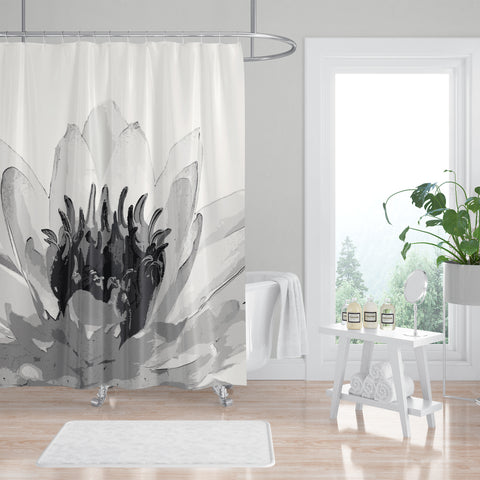 Giant Water Lily Black and White Spa Shower Curtain - Metro Shower Curtains