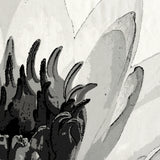 Giant black and white water lily shower curtain detail
