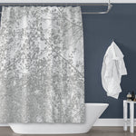 Spring Trees Overhead Silhouette, Gray on White Shower Curtain