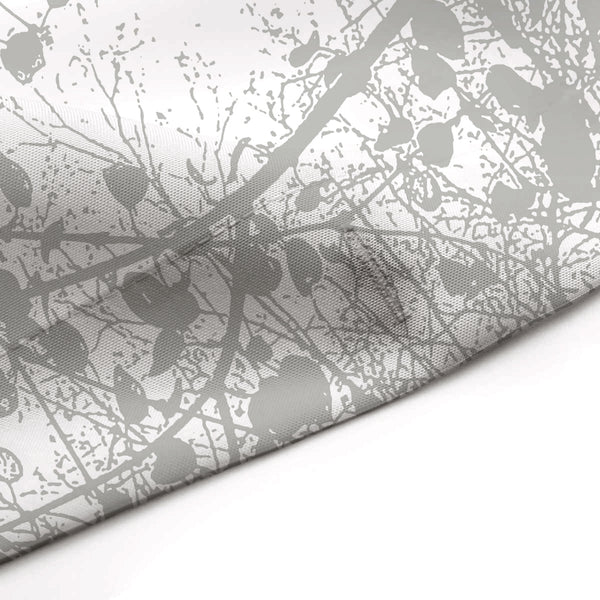 Spring Trees Overhead Silhouette, Gray on White Shower Curtain - Metro Shower Curtains