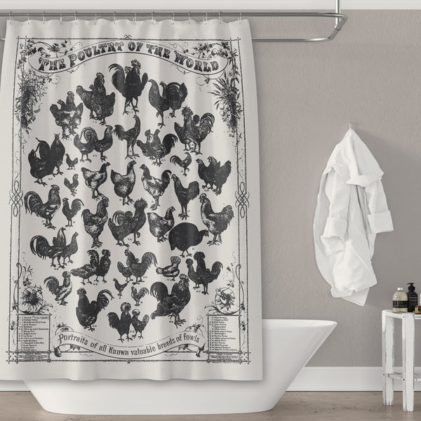 Farmhouse Chicken Print Gray and Black Shower Curtain