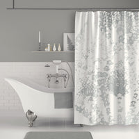 Gray and White Watercolor Lace Shower Curtain