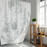 Gray and White Lace Mandala Watercolor Print Shower Curtain