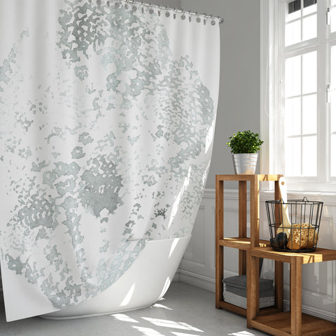 Gray and White Lace Mandala Watercolor Print Shower Curtain - Metro Shower Curtains