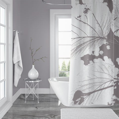 Giant Gray Linden Branch Shower Curtain - Metro Shower Curtains