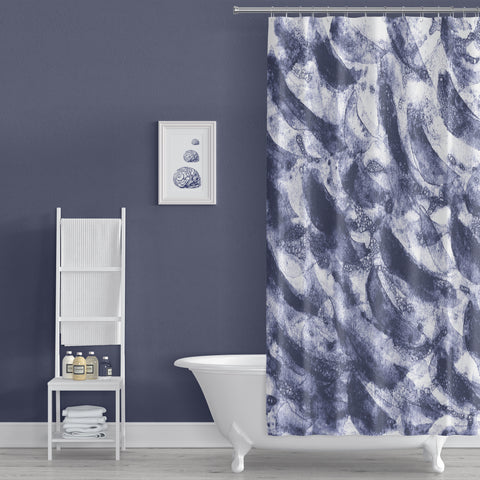 Dark Watercolor Waves in Navy Blue Coastal Art Shower Curtain - Metro Shower Curtains