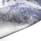 Navy Indigo Dark Blue Water Painting Shower Curtain Edge Detail