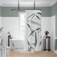 Green and White Bamboo Shower Curtain for Zen Bathroom