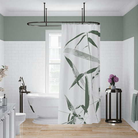 Green and White Bamboo Shower Curtain for Zen Bathroom - Metro Shower Curtains