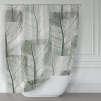 Green tropical banana leaf quilt pattern shower curtain