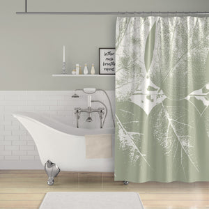 Sage Green Leaves Large-Format Photographic Print Monochromatic Shower Curtain - Metro Shower Curtains