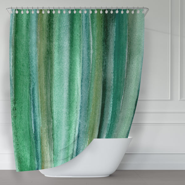Emerald Green Watercolor Stripes Rich Briliant Color Fabric Shower Curtain - Metro Shower Curtains