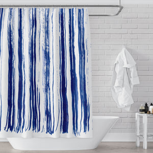 Indigo Dry Brush Stripes on Clean White Shower Curtain, Abstract Contemporary Watercolor Art - Metro Shower Curtains