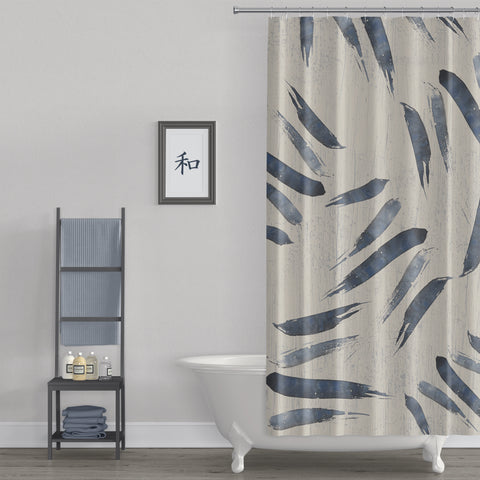 Indigo Blue Japanese Style Brush Stroke Shower Curtain - Metro Shower Curtains