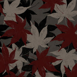 Gray and maroon leaves shower curtain swatch