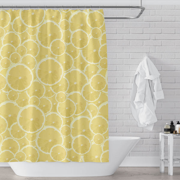 Lemons Forever Printed Yellow Fabric Shower Curtain
