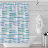 Light Blue Green Tropical Vibe Watercolor Brush Stroke Pattern Printed Fun / Mod Fabric Shower Curtain