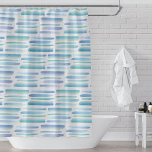 Light Blue Green Tropical Vibe Watercolor Brush Stroke Pattern Printed Fun / Mod Fabric Shower Curtain - Metro Shower Curtains