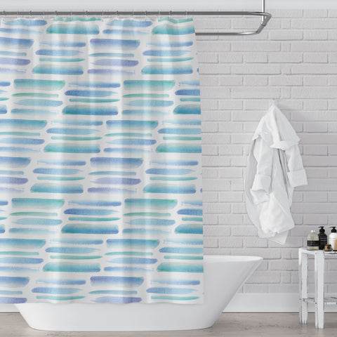 Light Blue Green & Teal Tropical Vibe Watercolor Brush Stroke Pattern Printed Fun / Mod Fabric Shower Curtain - Metro Shower Curtains