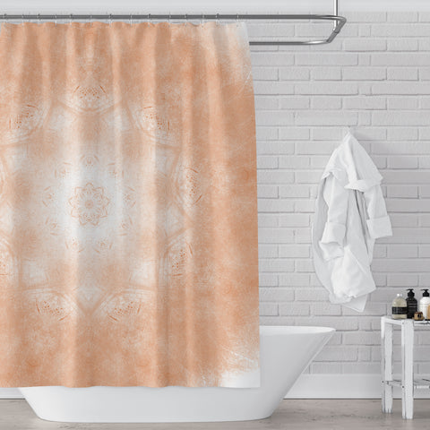 Peachy Orange Mandala Pattern Shower Curtain - Metro Shower Curtains