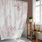 Maroon / Burgundy Leaves Oversized Ink Prints for Modern Botanical Bathroom