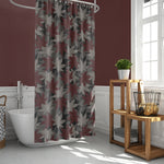 Maroon leaves shower curtain bathroom