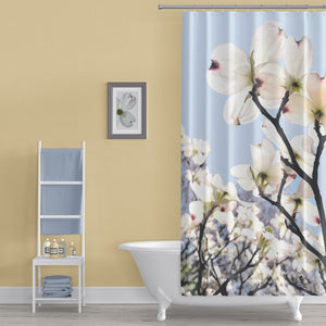 Blush Pink Dogwood Flowers Shower Curtain, With Clear Blue Sky - Metro Shower Curtains
