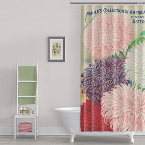 Farmhouse Floral Shower Curtain - Vintage Seed Catalogue Print - Metro Shower Curtains