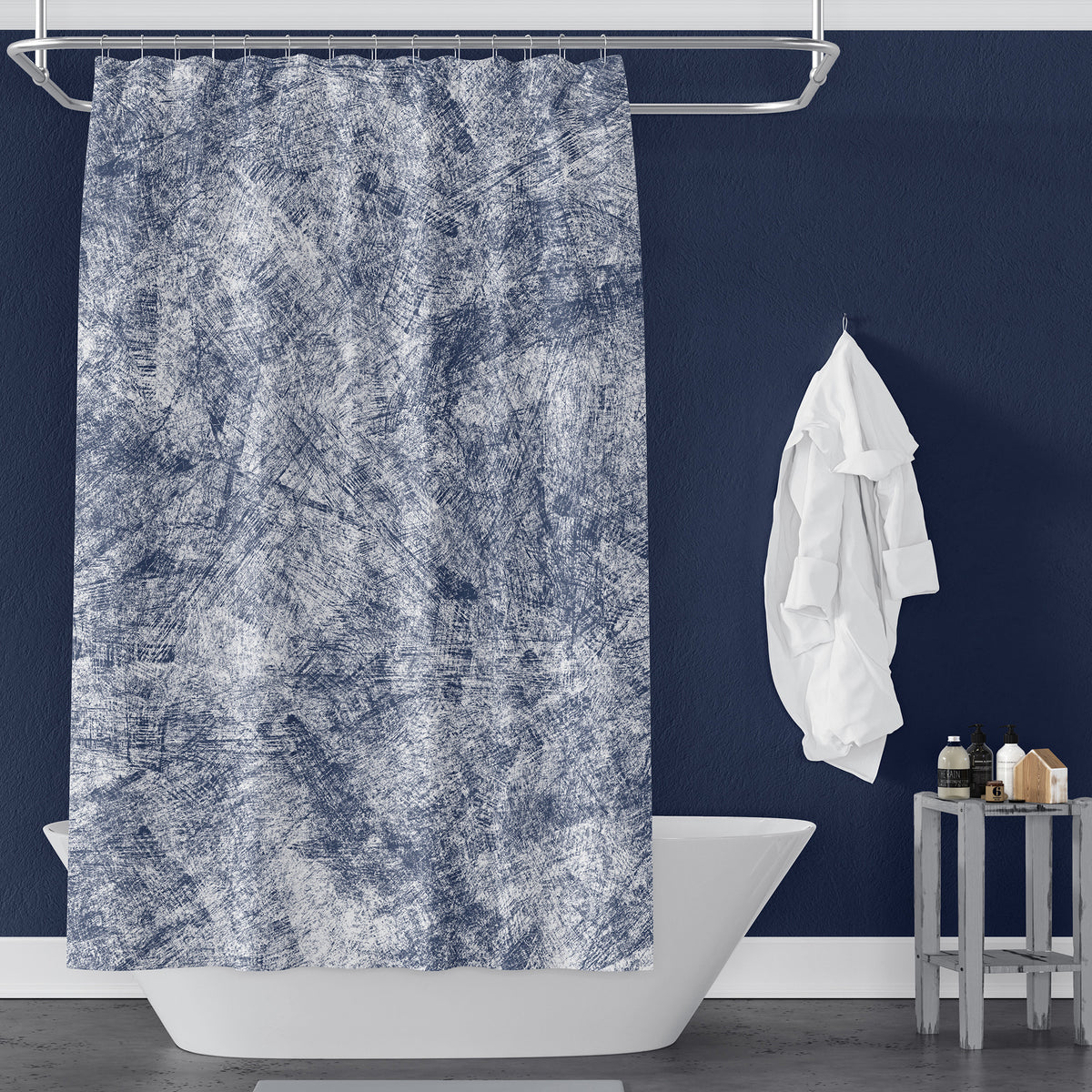 Navy Blue Farmhouse Distressed Shower Curtain Metro Shower Curtains