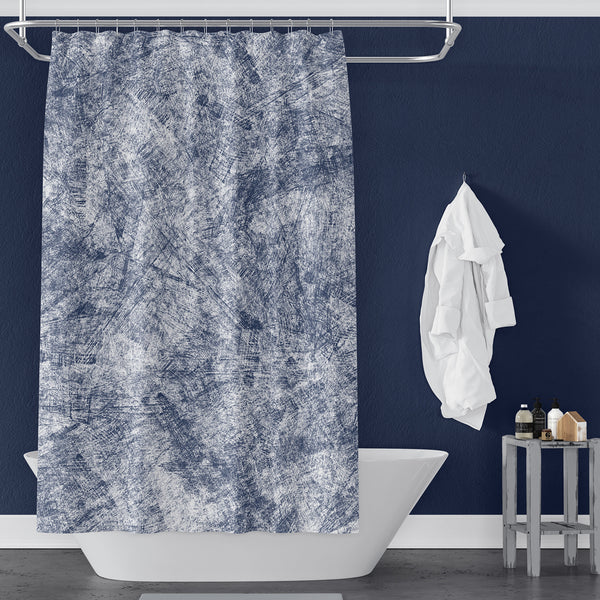 Distressed rustic abstract navy blue bathroom shower curtain
